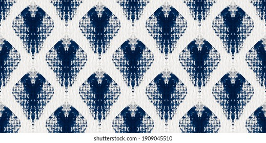 Tie Dye Seamless Pattern. Paper Texture Background. Ethnic Abstract. Floral Bohemian Wallpaper. Blue Pattern. Abstract Bohemian Tile. Indigo Tie Dye Tile. Watercolor Textile Print.