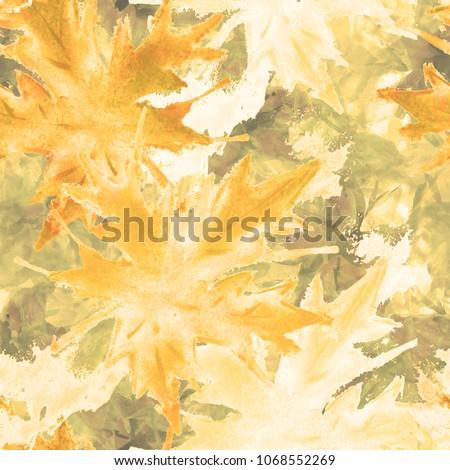 02ee65186ed Tie Dye Seamless Pattern with Watercolor Maple Leaves. Shibori Batik Print  for Swimwear, Silk