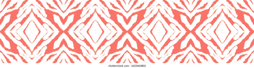 Tie Dye Shibori. Color Mess. Ink Background Painting. Coral,Red,White Shibori Boundless Backdrop. Abstract Continuous Painting. Bohemian Abstract Style. Wet Tie Dye Shibori.