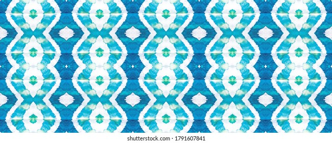 Tie Dye wallpaper. Seamless Ethnic Pattern. Colored Textile. Grunge Style Endless Fabric. Motley Ikat Gouache. Ultramarine White. Endless Tone. Dye picture.