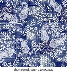 Tie dye watercolor  denim paisley pattern