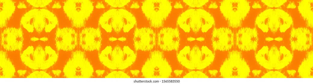 Tie Effect. Watercolor Brush Pattern. Tie Dye Print. Ink Textured Japan Backdrop. Ethnic Cloth Decoration. Yellow,Orange Hand Drawn Abstract Ornament. Fun Tie Effect.