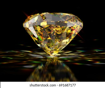Tiffany Yellow diamond with colorful caustics rays, standing side view on glossy black background. 3D rendering illustration.