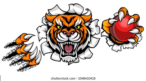 A Tiger angry animal sports mascot holding a cricket ball and breaking through the background with its claws