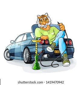 Tiger character car sits hookah smokes