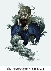 Tiger and dragon 3D rendering
