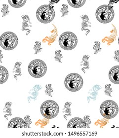 tiger dragon with versace pattern on a white background pattern