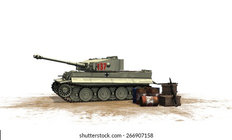 Tiger German Battle Tank - seperated on white background