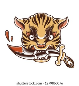 Tiger head with dagger (old school tattoo)