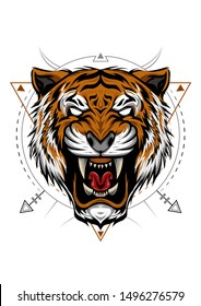 Tiger head illustration with angry face in detailed style. ferocious wild tiger. design for T shirt , mascot, logo team, sport, metal printing, wall art, sticker. Vector illustration style
