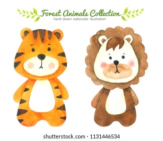 Tiger and Lion Cartoon watercolor collection isolated on white background ,Forest Animal Hand drawn painted character for Kids,Greeting Card ,Cases design,Postcards, Product,Notebook and more
