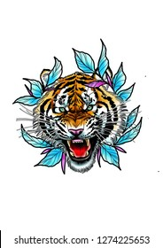 Tiger in neo traditional style tattoo