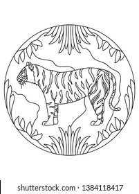 Tiger pattern. Illustration of Tiger. Mandala with an animal.  Predator in a circular frame. Coloring page for kids and adults.Predator felines.