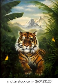 Tiger resting in the jungle, beautiful detailed oil painting on canvas. Cartoonize effect