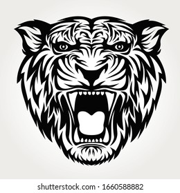 tiger roaring head black white