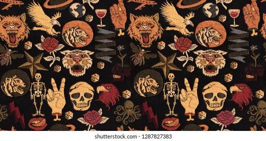 tiger, skul, pattern