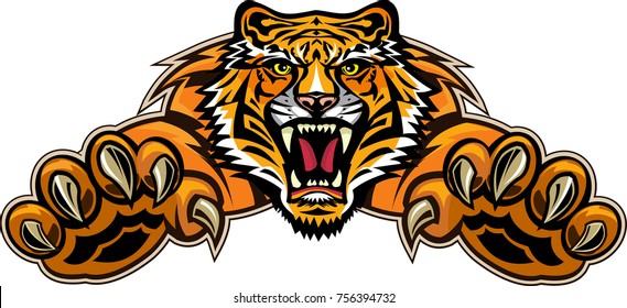 Tigers face. Saber-toothed tiger tattoo