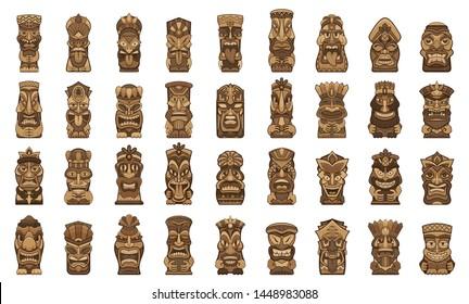 Tiki idols icons set. Cartoon set of tiki idols icons for web design