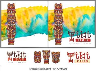 Tiki. Template for menu, signboard, advertising. Watercolor illustration