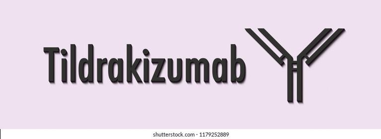 Tildrakizumab monoclonal antibody drug. Used in treatment of psoriasis. Targets interleukin-23. Generic name and stylized antibody representation.