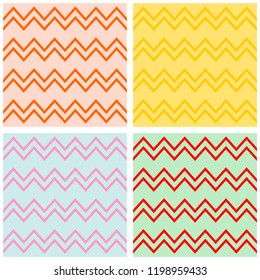 Tile chevron pattern set with pastel zig zag background