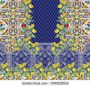 tile design lemon, sicilian ornament