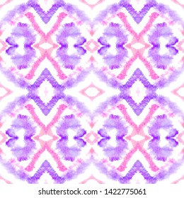 Tile Ethnic Design. Abstract Aquarelle Wallpaper. Pink and Purple African, Aztec, Navajo Texture. Drawn by Hand Kaftan Design. Tile Ethnic Seamless Pattern Design.
