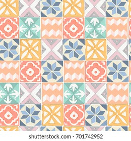 Tile floor acrylic painted seamless pattern