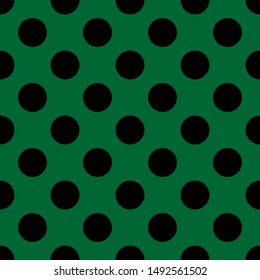 Tile pattern with big black polka dots on green background
