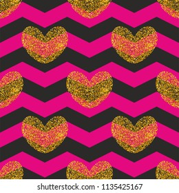 Tile pattern with golden hearts and zig zag background