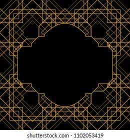 Tile pattern with golden ornament frame on black background