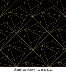 Tile pattern with golden ornament on black background