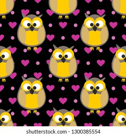 Tile pattern with owls with pink hearts and dots on a black background