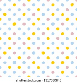 Tile pattern with pastel blue, pink and yellow hand drawn dots on white background