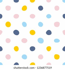 Tile pattern with pastel hand drawn polka dots on white background