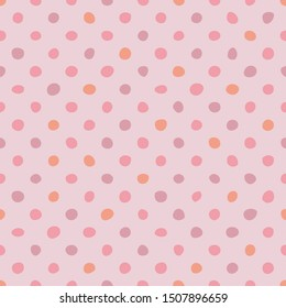 Tile pattern with pastel hand drawn dots on pink background