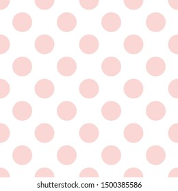Tile pattern with pink polka dots on white background