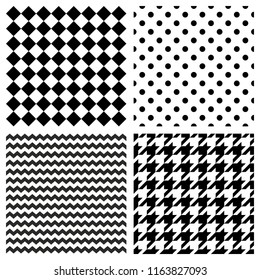 Tile pattern set with black and white polka dots, zig zag, hounds tooth and stripes  background for seamless decoration wallpaper