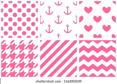 Tile pattern set with chevron, zig zag, polka dots, sailor, hearts and stripe pink background
