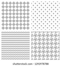 Tile pattern set with grey polka dots, hounds tooth and stripes on white background