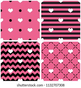 Tile pattern set with hearts on black and pastel pink backgrounds