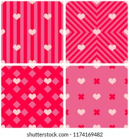 Tile pattern set with hearts on pink backgrounds