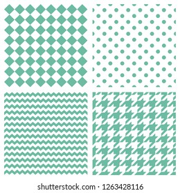 Tile pattern set with mint green polka dots, hounds tooth, hearts and stripes on blue background