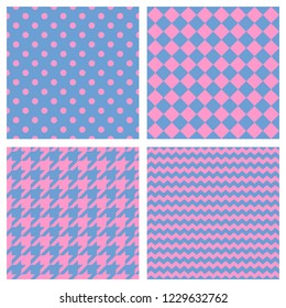Tile pattern set with pink polka dots, hounds tooth, hearts and stripes on blue background