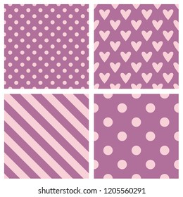 Tile pattern set with pink and purple polka dots, hounds tooth, hearts and stripes background