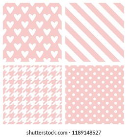Tile pattern set with pink and white polka dots, hounds tooth, hearts and stripes background