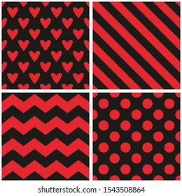 Tile pattern set with red and black stripes, hearts, polka dots and chevron zig zag background for seamless decoration wallpaper