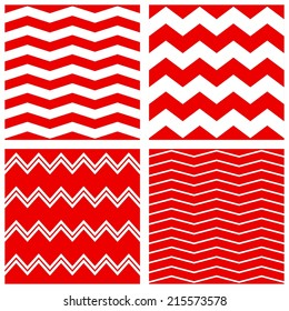 Tile pattern set with red and white zig zag