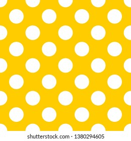 Tile pattern set with white polka dots on sunny yellow background for summer desktop wallpaper, decoration or website design.