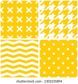 Tile pattern set with yellow polka dots, x cross, hounds tooth, zig zag stripes on white background